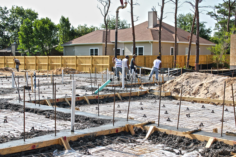 Pouring concrete at the tucker lot for icf home jp for Icf homes for sale in florida
